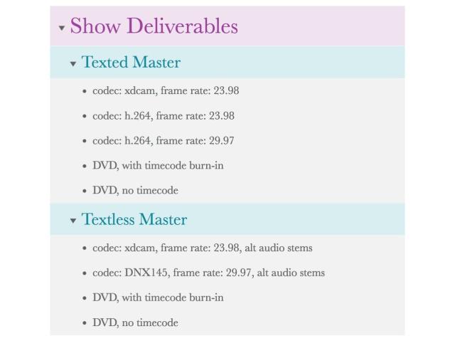 Show Deliverables WBS
