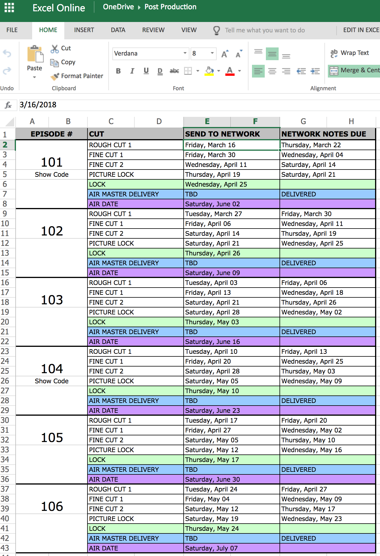 Post Schedule Hot Sheet Sample xlsx